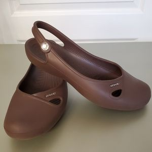 CROCS Brown Slingback Sandals - size 9